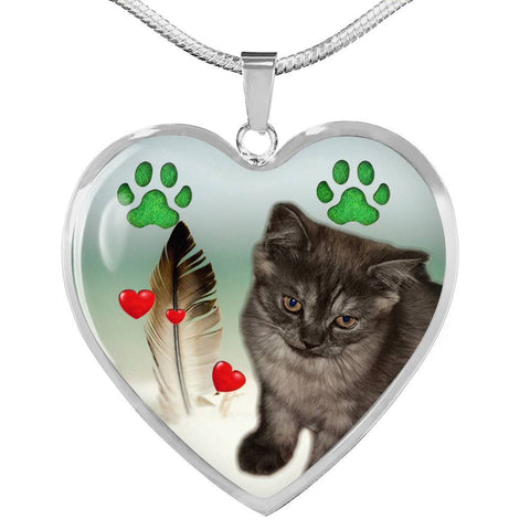 Selkirk Rex Print Heart Pendant Luxury Necklace-Free Shipping