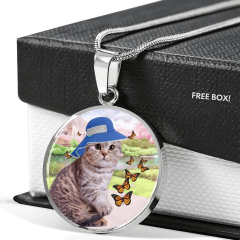 Scottish Fold Cat Print Circle Pendant Luxury Necklace-Free Shipping