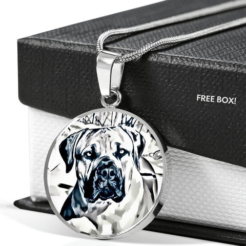 South African Mastiff (Boerboel) Dog Print Circle Pendant Luxury Necklace-Free Shipping
