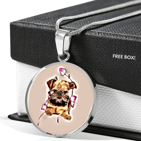 Brussels Griffon Print Circle Pendant Luxury Necklace-Free Shipping