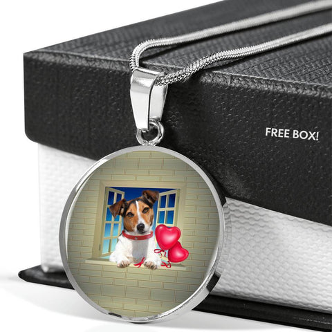 Cute Jack Russell Terrier On Window Print Circle Pendant Luxury Necklace-Free Shipping