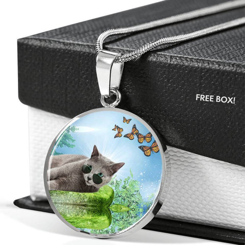 Russian Blue Cat Print Circle Pendant Luxury Necklace-Free Shipping