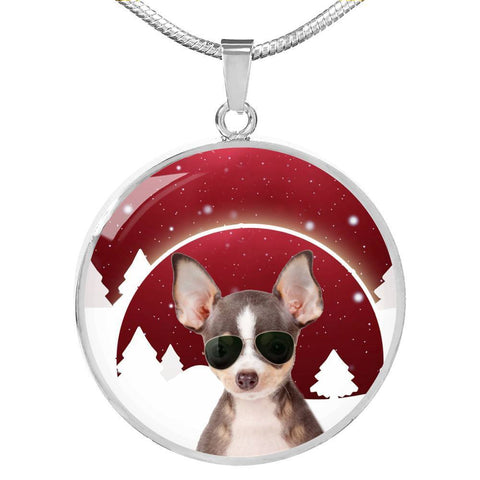 Chihuahua Print Circle Luxury Necklace-Free Shipping