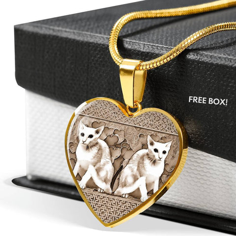 Oriental Shorthair Cat Print Heart Pendant Luxury Necklace-Free Shipping