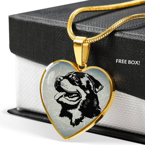Rottweiler Dog Black&White Art Print Heart Charm Necklaces-Free Shipping