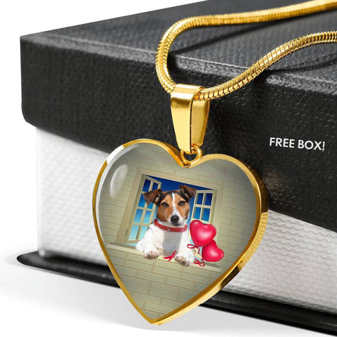 Cute Jack Russell Terrier On Window Print Heart Pendant Luxury Necklace-Free Shipping