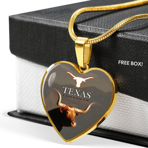 Texas Longhorn Cattle (Cow) Print Heart Pendant Luxury Necklace-Free Shipping
