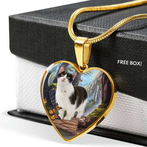 Munchkin Cat Print Heart Pendant Luxury Necklace-Free Shipping