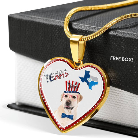 Labrador Retriever Texas Print Heart Pendant Luxury Necklace-Free Shipping