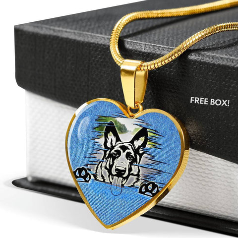 German Shepherd Dog Black Art Print Heart Charm Necklaces-Free Shipping