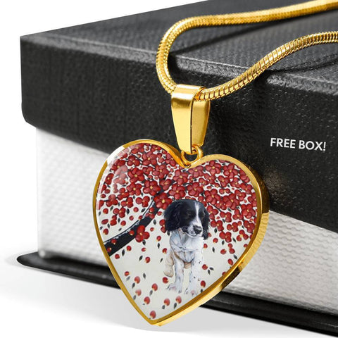 English Springer Spaniel Print Heart Pendant Luxury Necklace-Free Shipping