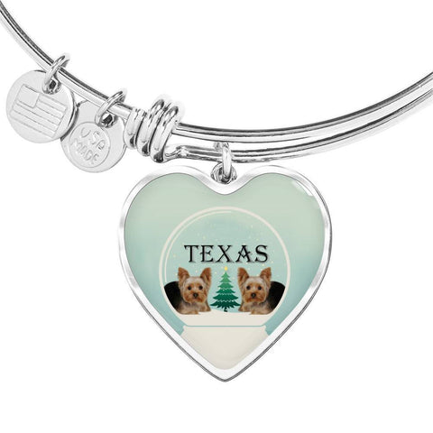 Yorkshire Terrier (Yorkie) Texas Print Heart Charm Bangle-Free Shipping