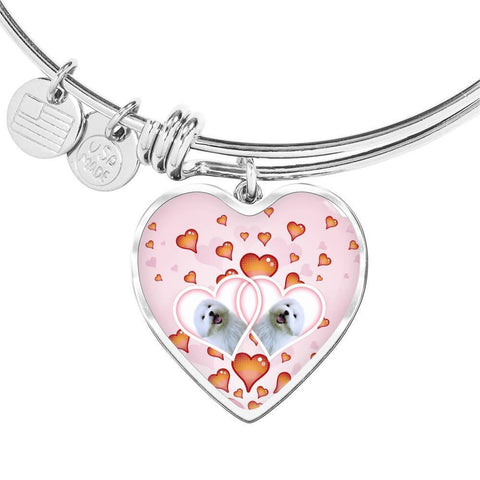 Maltese Dog Print Heart Charm Bangle-Free Shipping