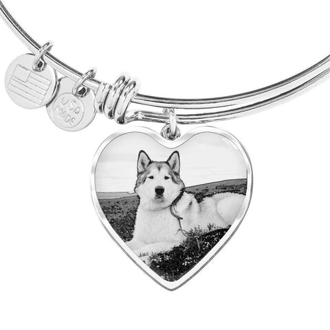Alaskan Malamute Print Heart Pendant Luxury Bangle -Free Shipping