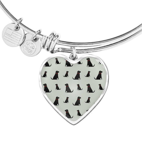 Labrador Retriever Pattern Print Luxury Heart Charm Bangle-Free Shipping