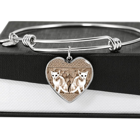 Oriental Shorthair Cat Print Heart Pendant Luxury Bangle-Free Shipping