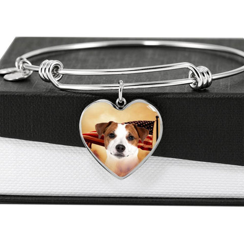 Cute Jack Russell Terrier Print Luxury Heart Charm Bangle-Free Shipping