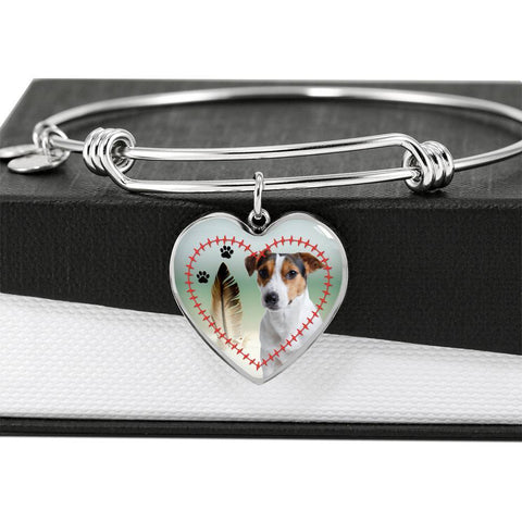 Jack Russell Terrier Print Luxury Heart Charm Bangle-Free Shipping