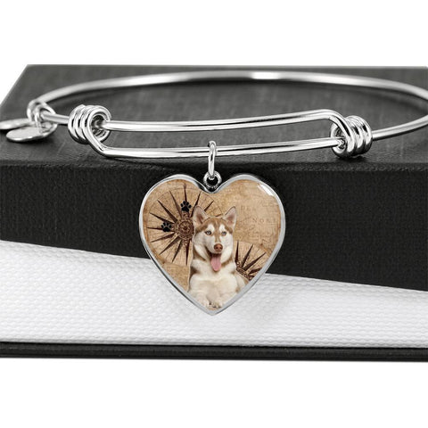 Cute Siberian Husky Print Luxury Heart Charm Bangle-Free Shipping