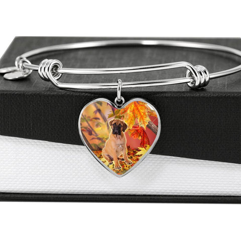 Cute Bullmastiff Print Luxury Heart Charm Bangle-Free Shipping