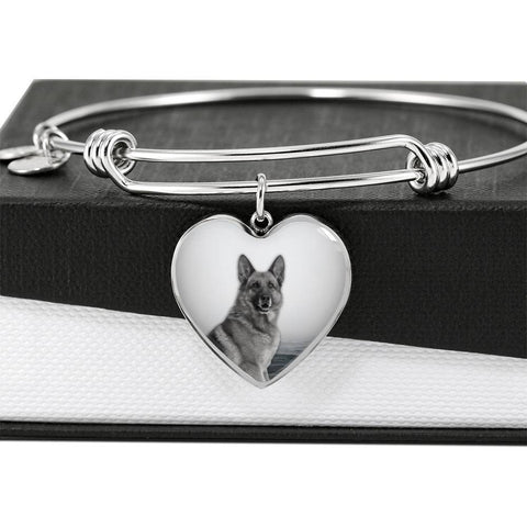 Cute German Shepherd Print Luxury Heart Charm Bangle-Free Shipping