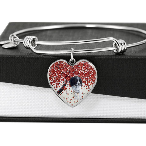 English Springer Spaniel Print Heart Pendant Luxury Bangle-Free Shipping