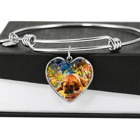 Bullmastiff Print Luxury Heart Charm Bangle-Free Shipping