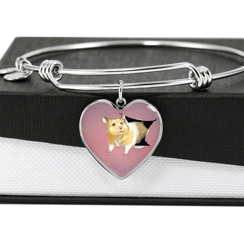Lovely Hamster Print Heart Pendant Bangle-Free Shipping