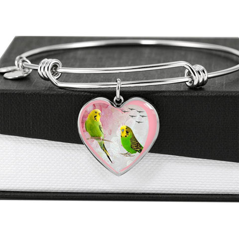 Budgerigar Parrot Print Heart Pendant Bangle-Free Shipping