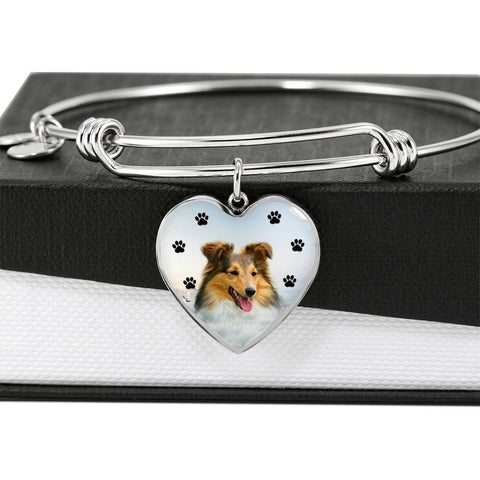 Shetland sheepdog Print Luxury Heart Charm Bangle-Free Shipping