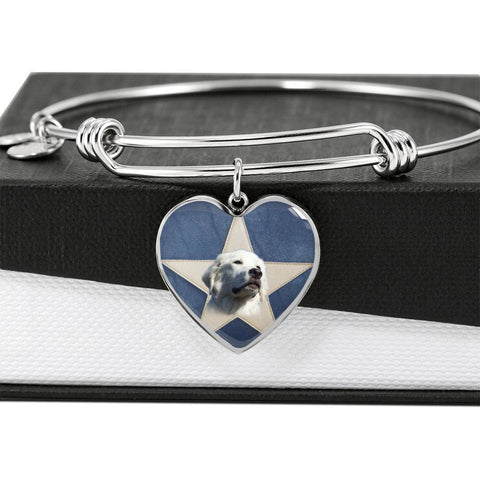 Great Pyrenees Print Luxury Heart Charm Bangle-Free Shipping