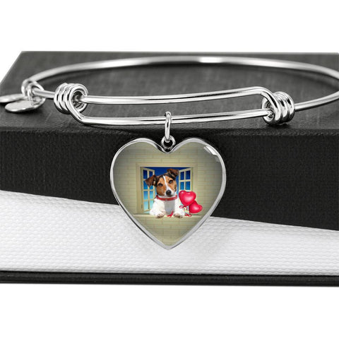Cute Jack Russell Terrier On Window Print Heart Pendant Luxury Bangle-Free Shipping