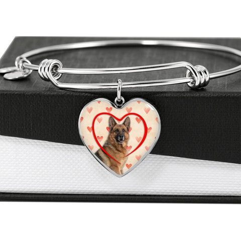 German Shepherd Print Luxury Heart Charm Bangle-Free Shipping