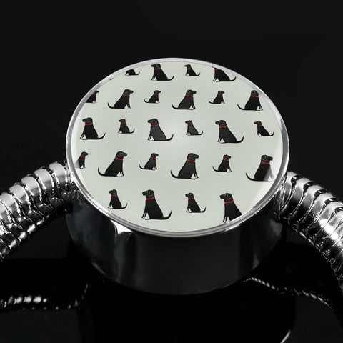 Labrador Retriever Pattern Print Luxury Circle Charm Bracelet-Free Shipping