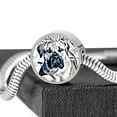 South African Mastiff (Boerboel) Dog Print Circle Charm Steel Bracelet-Free Shipping
