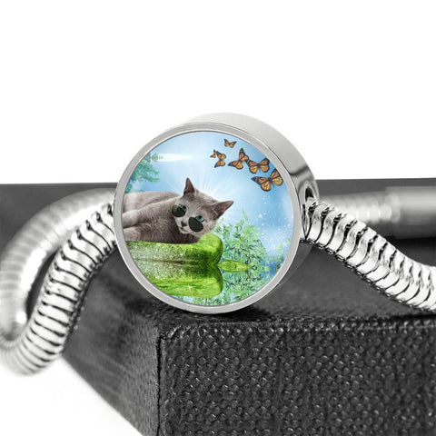 Russian Blue Cat Print Circle Charm Steel Bracelet-Free Shipping