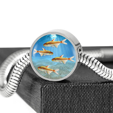 Glowlight Tetra Fish Print Circle Charm Steel Bracelet-Free Shipping