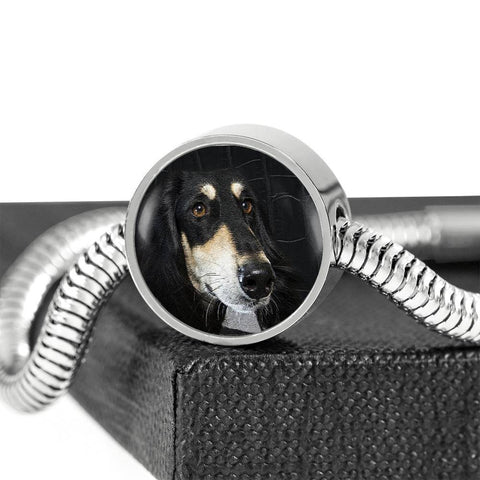 Black Saluki Dog Print Circle Charm Steel Bracelet-Free Shipping