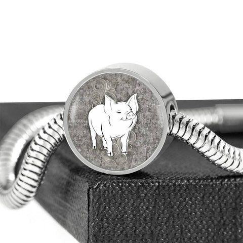 Cute Middle White Pig Print Circle Charm Steel Bracelet-Free Shipping