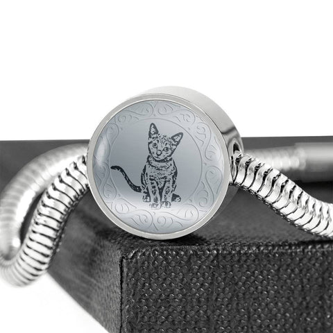 Russian Blue Cat Art Print Circle Charm Steel Bracelet-Free Shipping