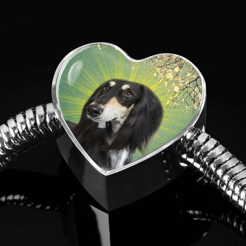 Black Saluki Dog Print Heart Charm Steel Bracelet-Free Shipping