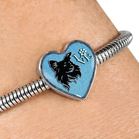 Papillon Dog On Denim Print Heart Charm Steel Bracelet-Free Shipping