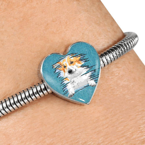 Pembroke Welsh Corgi Dog Art Print Heart Charm Steel Bracelet-Free Shipping