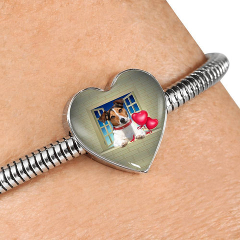 Cute Jack Russell Terrier On Window Print Heart Charm Steel Bracelet-Free Shipping