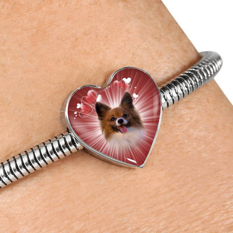Papillon Dog Print Heart Charm Steel Bracelet-Free Shipping