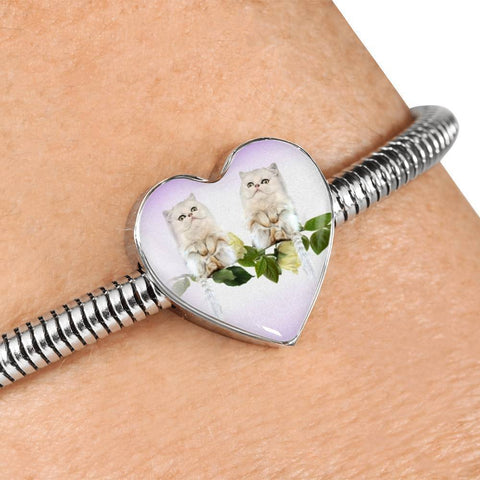 White Persian Cat Print Heart Charm Steel Bracelet-Free Shipping