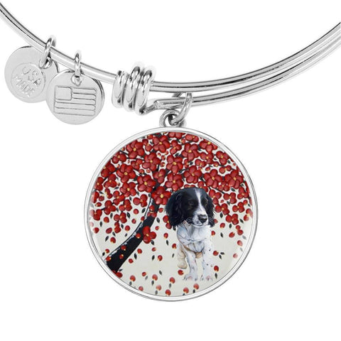 English Springer Spaniel Print Circle Pendant Luxury Bangle-Free Shipping