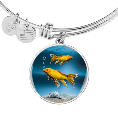 Butterfly Koi Fish Print Circle Pendant Luxury Bangle-Free Shipping