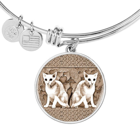 Oriental Shorthair Cat Print Circle Pendant Luxury Bangle-Free Shipping