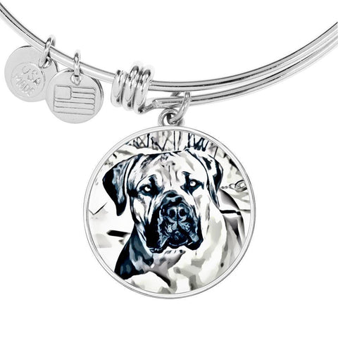 South African Mastiff (Boerboel) Dog Print Circle Pendant Luxury Bangle-Free Shipping